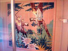 A vintage pink bathroom tile mural - incredible - Retro Renovation