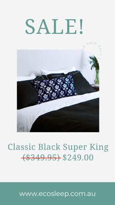 Classic Black Super King 265 x 210 cm ($349.95) $249.00 6 Piece Coshee Quilt cover set includes: 1 white bamboo/cotton top sheet, 2 plain bamboo/cotton pillowcases 1 cotton sateen quilt cover 2 pillow cases matching the quilt cover #ecosleepaustralia #CosheeSmartBedding #australianmum #aussiemum #aussiemums #quiltcover Linen Bedding, Bedding Sets, Simple Bed, Quilt Cover Sets, How To Make Bed, Beautiful Homes, Bedroom Ideas, Duvet Covers, Pillow Cases