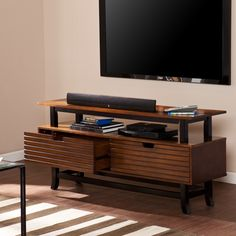 Upton Home Moriah TV/ Media Stand - Overstock™ Shopping - Great Deals on Upton Home Entertainment Centers 2 Drawer Tv Stand, Tv Stand Cabinet, Tv Stand Console, Diy Tv Stand, Tv Media Stands, Cool Tv Stands, Modern Asian, Flat Panel Tv, Design Your Life