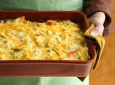 Rotel Mexican Chicken Casserole Recipe... I've made this for years but I use shredded cheese (I'm not a big fan of velveeta)