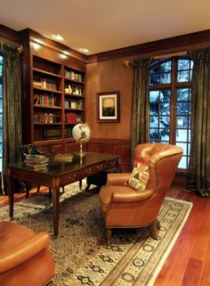Astounding 33 Stylish And Dramatic Masculine Home Office Design Ideas : Astounding 33 Stylish And Dramatic Masculine Home Office Design Ideas With Brown Sofa Table Globe Cupboard Books Window Curtain Carpet Hardwood Floor