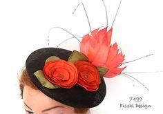 Orange black kaki green smartie designer hat by FischlDesign