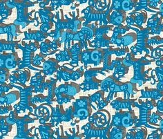 chinese animals blue fabric by scrummy on Spoonflower - custom fabric