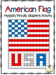 FREE coordinate graphing American flag USA mystery picture - great for September 11