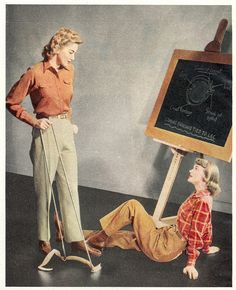 Great slacks and blouse looks for spring or fall from 1942. #vintage #pants #1940s #fashion