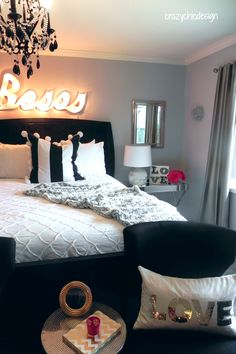 Create classic glamour in your bedroom with crisp white bedding, soft faux fur throws and plush pillows. Mirrored and silver furniture pieces, mercury glass and a pop of color add a sophisticated shine. All from HomeGoods, {Sponsored Pin}.