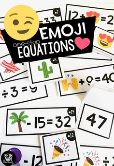 Emoji Equation activity! Working on expressions and equations? Get your students engaged with these one-step emoji equations!