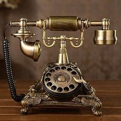 Vintage Rotary Telephone Old Retro Style Resin Imitation Copper Great Gift Idea