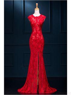 Brand New Arrival Fabulous Lace Split Mermaid Party Dresses Evening Formal Dresses(ED0719)