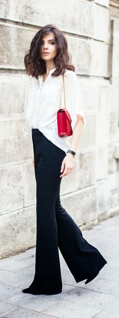 White Sleeve Button Down Shirt with Flared High Waist Pant | Spring/Summer Outfits