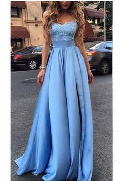 Elegant Long Blue Lace Prom Evening Dresses 3020584