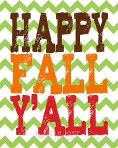 Happy Fall Y'all PRINTABLE. Customized Fall by JoyfulArtDesigns