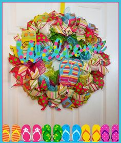 Flip Flop wreath; summer wreath; beach aesthetic; deco mesh wreaths; summer vibes; summer wreaths for front door; beach cottage style; summer ribbon wreath; summer deco mesh wreaths; summertime decor; neighbor gifts; pool deck decorating ideas; patio decorating ideas; gift ideas for mom; gift ideas for best friend; mesh and ribbon wreath; new home gift ideas; housewarming gift ideas; welcome sign front door; welcome wreath for front door; front door decor; flip flop door hanger #summerwreath…
