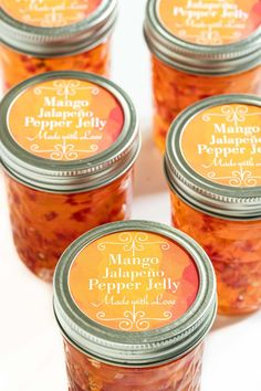 This sweet, spicy Mango Jalapeño Pepper Jelly makes a lovely gift and is a fabulous appetizer served with crackers and spooned over goat or cream cheese. Check out our post for so many other ways to use it! Jalapeno Jelly Recipes, Jalapeno Pepper Jelly, Pepper Jelly Recipes, Hot Pepper Jelly, Stuffed Jalapeno Peppers, Canning Pepper Jelly, Canning Jalapeno Peppers, Mango Jelly, Mango Jam