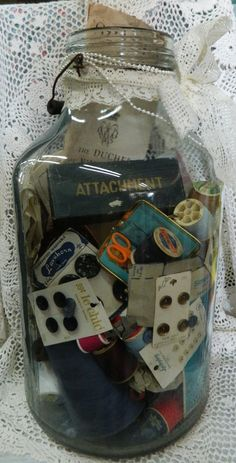 Vintage Pickle Jar with sewing buttons, attachments & etc.