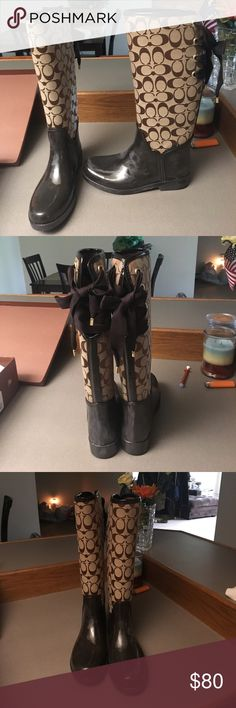 Coach Rainboots Super cute coach rain boots. They are fuzzy on the inside and tie on the back. They are a little scuffed (as pictured above) but in otherwise great condition! Comes with box. Coach Shoes Winter & Rain Boots