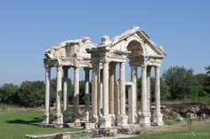 The monumental gateway in Aphrodisias. Aphrodisias was a city in Caria, on the southwest coast of Asia Minor, currently Anatolia in Turkey. Aphrodisias was named after Aphrodite. the Greek goddess of love, who had here her unique cult image, the Aphrodite of Aphrodisias. #travel