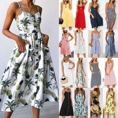 1443039ef9f Womens Strappy Swing Midi Dress Boho Floral Summer Beach Retro Dresses  Sundress - Swing Dresses -