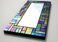 Iridescent Stained Glass Mosaic Mirror Kokomo Glass 8