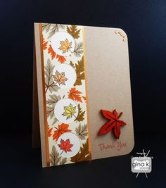 """Thank You"" card made with the following supplies:  - Gina K Designs ""Autumn Leaves"" stamp set - Gina K Designs Pure Luxury card stock in 80 lb Layering Weight Ivory and Kraft  - Gina K Designs Pure Luxury Sun-Kissed Autumn 6X6 patterned paper - Gina K Designs Pure Luxury Color Collections Premium Dye Ink in Black Onyx, Tomato Soup and Sweet Mango - Spectrum Noir markers in CR10, CT1, GB2 and TN2  All of these products are available in the Gina K Online Store at www.shop.ginakdesigns.com"