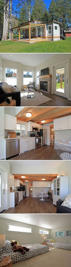 The Bellevue: a stunning, luxury cottage on Lake Whatcom in Washington. Love the tiny house, hate the hefty price! Tiny House Movement, Little Houses, Tiny Houses, Guest Houses, Dog Houses, Park Model Homes, Interior Design Minimalist, Casas Containers, Tiny House Nation
