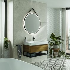 bathroom 2021 – Szukaj wGoogle Large Bathroom Mirrors, Bathroom Mirror Cabinet, Led Mirror, Large Bathrooms, Mirror Cabinets, Mirror With Lights, Small Bathroom, Black Round Mirror, Round Mirrors