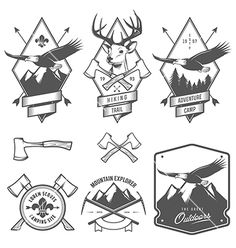 Vintage hiking and camping labels and badges vector 1645885 - by ivanbaranov on VectorStock®