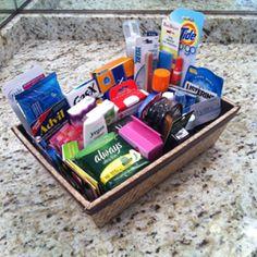 Female bathroom basket. Make an emergency kit for the MOH to keep that has baby powder, bleach pen, chalk...