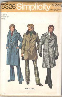 70s Fashion Men, Retro Fashion, Vintage Fashion, Knitting Needle Sets, Mens Overcoat, Tailored Coat, Trench Coat Men, Coat Patterns, Jacket Pattern