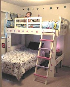 DIY loft bed with twin under it. Saving this idea in case the other bunk beds get too costly. (Look under step 3 in link to see how they modified the original project).