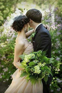 A Wonderful & Lush Bouquet Which Showcases: Green Trick Dianthus, Green Snowball Viburnum, Green Poppy Pods, Fern Shoots (Monkey's Tail), Green Coxcomb/Celiosa, Several Varieties Of Green Fern + Greenery/Foliage