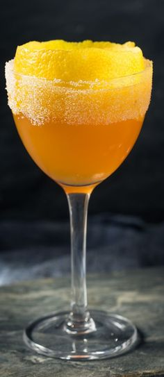 Brandy Crusta cocktail. Cognac-based alcoholic mixed drink. Very easy, refreshing, and delicious. #beverages #drinks #cocktails #party