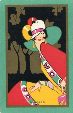 "Vintage Swap Playing Card.... ""Art Deco Lady"" card."