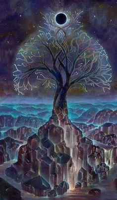 Axis Mundi, a collaborative painting by Aloria Wever and David Heskin