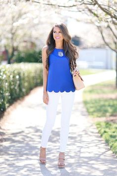 Scalloped hem tank in Royal, while skinnies, beige sandals and monogrammed silver necklace
