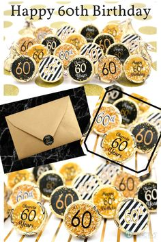 Make this birthday milestone special with these gold and black 60th birthday party favor stickers (also great envelope seals!) #60thbirthday