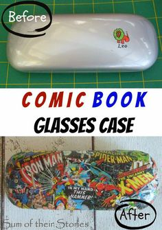 Comic Book Glasses Case | sumoftheirstories.com | #decoupage #spectacles #comics