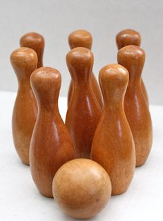 vintage set of 8 five inch wood pins and ball // by RedTuTuRetro, $25.00