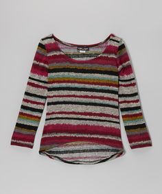 Look at this Rated G Fuchsia Multi Stripe Hi-Low Top on #zulily today!
