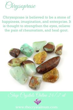 Happiness-Imagination-Enterprise-Eyes-Rheumatism-Gout Stunning tumbled stones and so much more at The Crystal Man! Gems And Minerals, Crystals Minerals, Crystals And Gemstones, Stones And Crystals, Gem Stones, Crystal Guide, Crystal Magic, Crystal Identification, Types Of Crystals