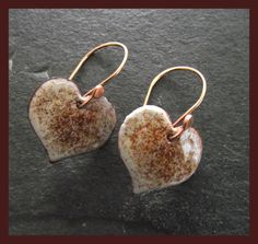 Enamelled copper earrings - hearts - capuccino £14.00