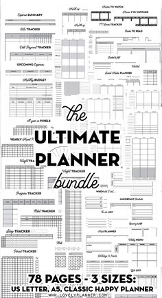 HUGE Pack of Printable Planner Inserts in 3 sizes - Planner - HUGE pack of 78 printable planner inserts in 3 sizes (US letter, Classic Happy Planner) to cust - Planner Pdf, To Do Planner, Planner Layout, Planner Inserts, Planner Template, Life Planner, Happy Planner, College Planner, Free Planner Pages