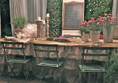 Love this burlap table cloth by Diane of French Country Cottage, perfect for a rustic themed destination wedding
