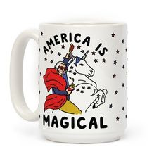 Wake up with freedom in your cup! This magical patriotic coffee mug design features an illustration of George Washington atop a unicorn of independence brandishing a corn dog in one hand and a beer in the other.