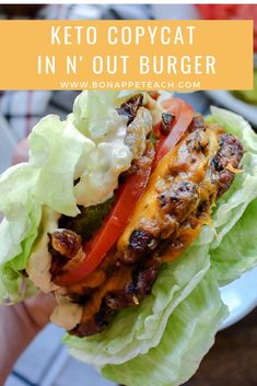 "If you want to create a keto friendly fast food burger, this keto Copycat In N' Out version is the one to go for! It's easy to make low carb and keto friendly and eat ""protein style"" when wrapped between easy lettuce buns. Get the whole recipe now! Healthy Food Recipes, Beef Recipes, Low Carb Recipes, Whole Food Recipes, Cooking Recipes, Cool Recipes, Low Carb Hamburger Recipes, Barbecue Recipes, Cooking Tips"