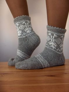 Hand knitted warm wool socks with Latvian traditional ornaments. $25.00, via Etsy.