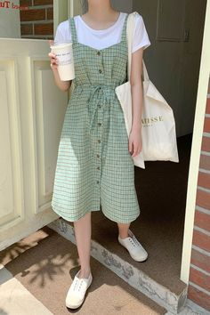 Cute Casual Outfits, Casual Dresses, Summer Outfits, Casual Korean Outfits, Casual College Outfits, Modest Fashion, Fashion Outfits, Fashion Clothes, Korean Girl Fashion