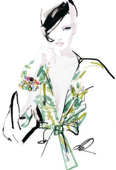 Fashion illustration by David Downton. #watercolor #digital #fashion #illustration #art #blouse #floral #trench