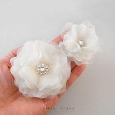 Pure Silk Wedding Headpiece, Ivory Wedding Hair Flower Clip, Swarovski Crystal Wedding Hair Accessory, Bridal Headpiece, Bridal Hairpiece