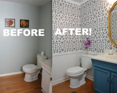 Watch this small bathroom makeover (gray and white bathroom) get a much-needed makeover using stencils and a vanity painted with a POP of blue color! - Thrift Diving